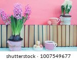 pink hyacinths  macaroons  tea...   Shutterstock . vector #1007549677