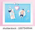 lovely couple in swimming pool... | Shutterstock .eps vector #1007549944