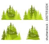 coniferous forest silhouette... | Shutterstock .eps vector #1007551024