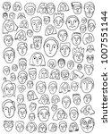 faces  hand drawn doodle set | Shutterstock .eps vector #1007551144