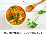 homemade chicken vegetable soup ... | Shutterstock . vector #1007551621