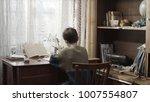 rear view of boy doing homework ... | Shutterstock . vector #1007554807