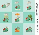 vector flat house insurance... | Shutterstock .eps vector #1007556205