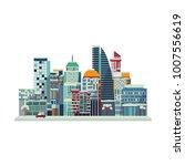 vector cartoon urban landscape... | Shutterstock .eps vector #1007556619