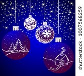 christmas background with balls ... | Shutterstock . vector #1007568259