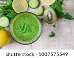 healthy sport green smootie... | Shutterstock . vector #1007575549