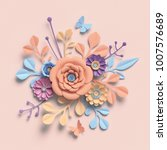 Stock photo  d rendering paper flowers pastel color palette botanical background isolated clip art round 1007576689