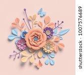 3d rendering  paper flowers ... | Shutterstock . vector #1007576689