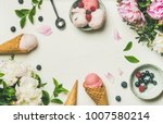 flatlay of pink strawberry and... | Shutterstock . vector #1007580214