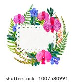 flowering orchids and herbs...   Shutterstock . vector #1007580991