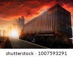 transportation  import export... | Shutterstock . vector #1007593291
