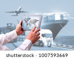 transportation  import export... | Shutterstock . vector #1007593669