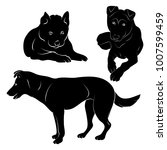silhouette dog and puppy on...   Shutterstock .eps vector #1007599459