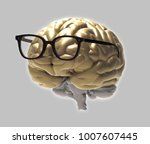 golden 3d brain and eye glasses ... | Shutterstock . vector #1007607445