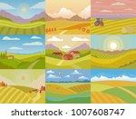 landscape vector meadow field... | Shutterstock .eps vector #1007608747