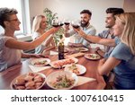 friends meeting.group of happy... | Shutterstock . vector #1007610415
