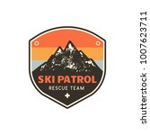 vintage hand drawn mountain ski ... | Shutterstock .eps vector #1007623711