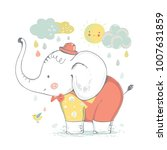 cute elephant baby boy. cartoon ... | Shutterstock .eps vector #1007631859