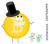 crypto currency bitcoin cartoon ... | Shutterstock .eps vector #1007636995