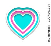 vector love paper craft shape | Shutterstock .eps vector #1007641339