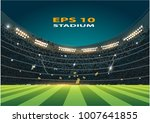 sports stadium with lights ... | Shutterstock .eps vector #1007641855