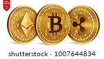 bitcoin. ripple. ethereum. 3d... | Shutterstock .eps vector #1007644834