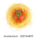 Italian pasta and cherry tomato. View from above. Isolated on white background - stock photo