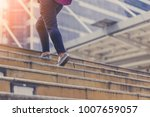 moving up stair with woman legs ... | Shutterstock . vector #1007659057