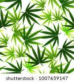 marijuana leaves seamless... | Shutterstock .eps vector #1007659147