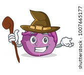 witch red cabbage mascot cartoon   Shutterstock .eps vector #1007665177