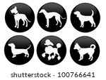 Stock vector circular dog silhouette icon symbol set eps vector grouped for easy editing no open shapes or 100766641