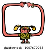 girl forming a frame with her...   Shutterstock .eps vector #1007670055