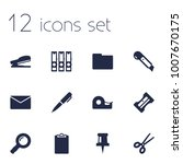 set of 12 tools icons set.... | Shutterstock . vector #1007670175