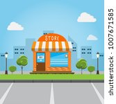 store front building with big... | Shutterstock .eps vector #1007671585