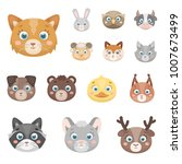 muzzles of animals cartoon... | Shutterstock .eps vector #1007673499