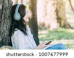 Woman Relax With Headphones...