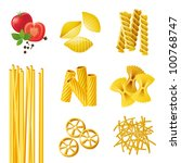 7 Different Pasta Types . Eps 10