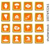 natural disaster icons set in... | Shutterstock . vector #1007692261