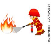 extinguish fire. fireman hold... | Shutterstock . vector #1007692819