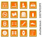 gym icons set in orange color...