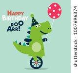 happy birthday   lovely vector... | Shutterstock .eps vector #1007696374