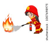 extinguish fire. fire woman... | Shutterstock . vector #1007698975