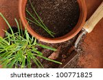 Top view of flower pot with spade and young chive plant on terra cotta tile.  Macro with shallow dof.  Focus on dirt and chives in pot. - stock photo