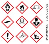 warning signs of official ghs... | Shutterstock .eps vector #1007723731