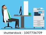 overworked and tired caucasian... | Shutterstock .eps vector #1007736709