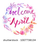 watercolor hand written hello... | Shutterstock . vector #1007738134