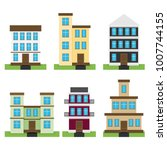 flat set of houses isolated on... | Shutterstock .eps vector #1007744155