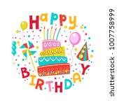 happy birthday  template... | Shutterstock .eps vector #1007758999