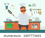 chef cooking on the kitchen.... | Shutterstock .eps vector #1007772601