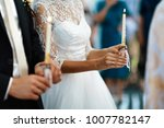 happy bride and stylish groom... | Shutterstock . vector #1007782147